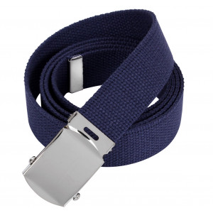 Navy Blue Military Web Belt with Chrome Buckle