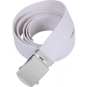 """White Military Web Belt with Chrome Buckle (54"""")"""