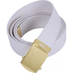 White Military Web Belt with Brass Buckle