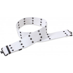 White Canvas Military Pistol Belt with Metal Buckle 42""