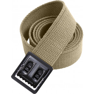 Khaki Military Cotton Web Belt & Black Open Face Buckle
