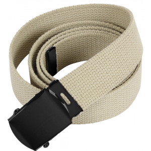Khaki Military Web Belt with Black Buckle