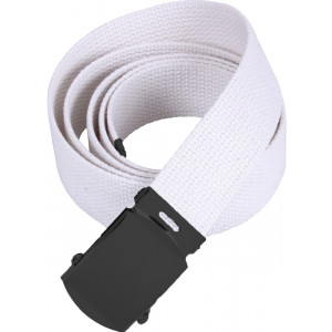 "White Military Web Belt with Black Buckle (54"")"