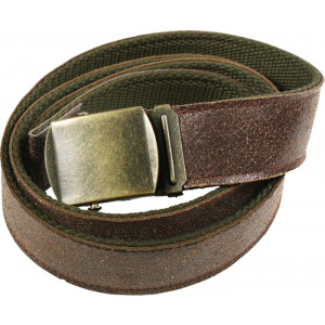 Brown Vintage Leather Reversible Web Belt