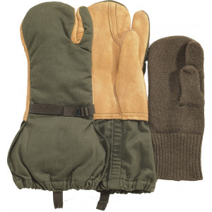 Olive Drab Genuine GI Military Trigger Finger Insulated Mittens with Liner