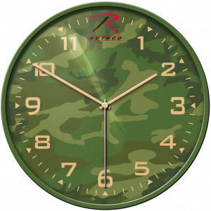 Woodland Camouflage Analog 12 Hour Wall Clock