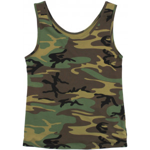 Womens Woodland Camouflage Form Fit Performance Stretch Tank Top