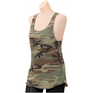 Womens Woodland Camouflage Racerback Tank Top
