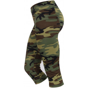 Womens Woodland Camouflage Spandex Performance Workout Capris