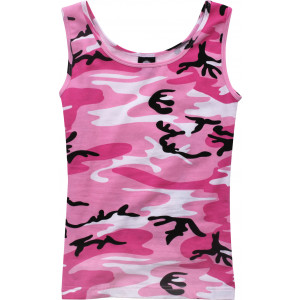 Women's Pink Camouflage Form Fit Performance Stretch Military Tank Top