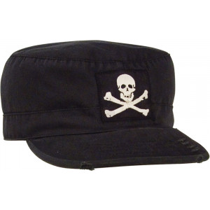 Black Vintage Jolly Roger Patrol Cap Fatigue Cap