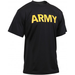 Black Physical Training Moisture Wicking ARMY PT Performance T-Shirt
