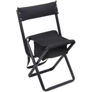 Black Deluxe Folding Chair Stool with Storage Pouch