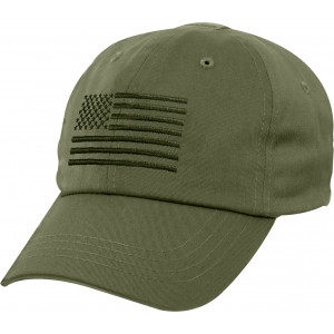 Olive Drab Military US Flag Tactical Baseball Hat Operator Cap