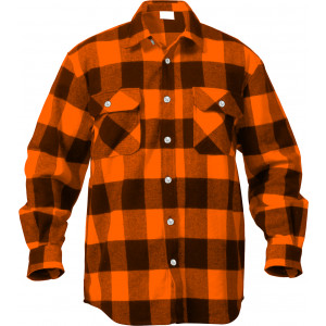 Orange Extra Heavyweight Brawny Buffalo Plaid Flannel Shirt