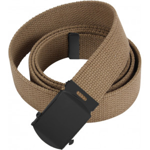 "Coyote Brown Military Web Belt with Black Buckle - 54"" Long"