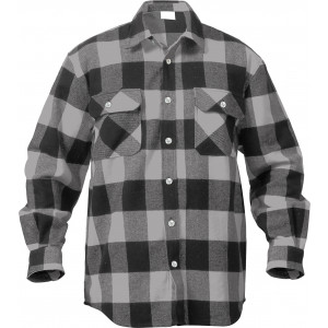 Grey Extra Heavyweight Brawny Buffalo Plaid Flannel Shirt