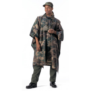 Woodland Camouflage Rip-Stop Waterproof Hooded Poncho