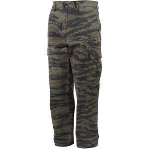 Tiger Stripe Camouflage Vintage Military Cargo Flat Front BDU Fatigue Pants