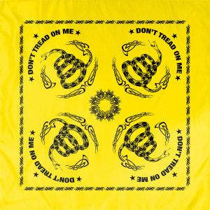 "Yellow Don't Tread On Me Flag Sport Biker Cotton 22"" x 22"" Bandana"