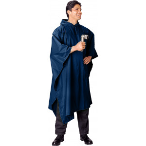Navy Blue Rip-Stop Waterproof Hooded Poncho