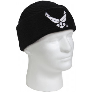 Black Military Winter Knit Hat Air Force Wing Acrylic Watch Cap