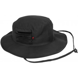 Black Wide Brim Military MA-1 Style Boonie Hat With Pocket