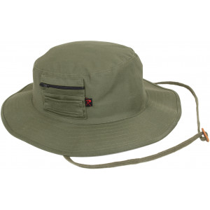 Olive Drab Wide Brim Military MA-1 Style Boonie Hat With Pocket