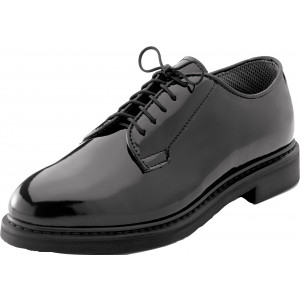 Black Hi-Gloss Shiny Lightweight Military Uniform Oxford Shoes