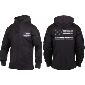 Black Concealed Carry Thin Blue Line Tactical Hoodie Sweatshirt