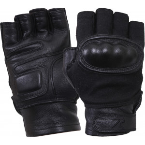 Black Military Cut Resistant Hard Knuckle Fingerless Tactical Gloves