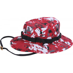 Red Digital Camouflage Military Wide Brim Boonie Hat