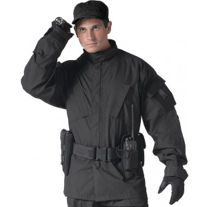 Black Military Combat SDU Rip-Stop Fatigue Shirt