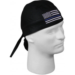 Black Thin Blue Line American Flag Support The Police Headwrap