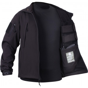 Black Military Ambidextrous Concealed Carry Soft Shell Tactical Jacket