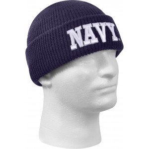 Navy Blue Deluxe Embroidered Navy Knitted Acrylic Winter Watch Cap