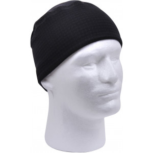 Black Grid Fleece Beanie Watch Cap