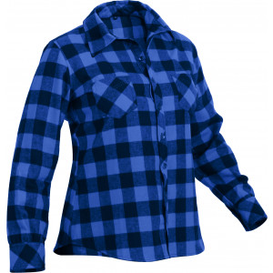 Women's Blue Plaid Tapered Cut Button Down Flannel Shirt