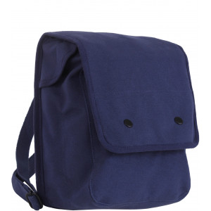 Navy Blue Canvas Map Case Shoulder Bag