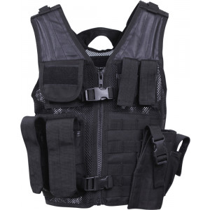 Kids Black MOLLE Tactical Cross Draw Vest