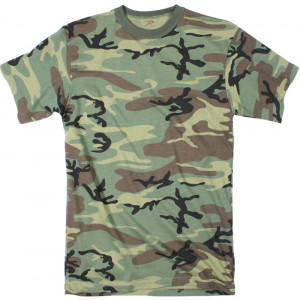 Woodland Camouflage Long Length Military Short Sleeve T-Shirt