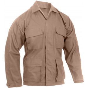 Khaki Military Rip-Stop Fatigue BDU Shirt