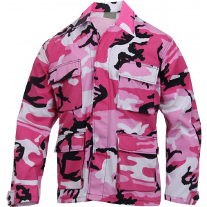 Pink Camouflage Military BDU Fatigue Jacket Tactical Coat Shirt