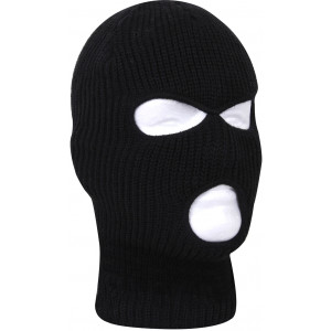 Black Fine Knit Three Hole Facemask Balaclava