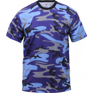 Electric Blue Camouflage Military Short Sleeve T-Shirt