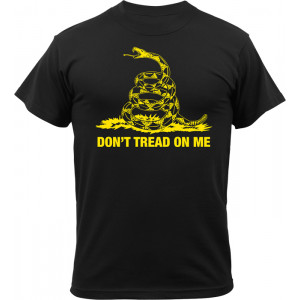Black Don't Tread On Me Gadsen Snake Vintage T-Shirt