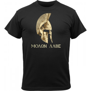 Black Military T-Shirt Design Molon Labe Short Sleeve T-Shirt