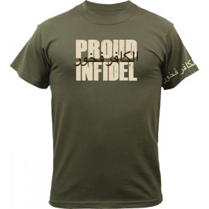 Olive Drab Military T-Shirt Design Proud Infidel Short Sleeve T-Shirt