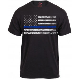 Black Thin Blue Line Support The Police Distressed American Flag T-Shirt
