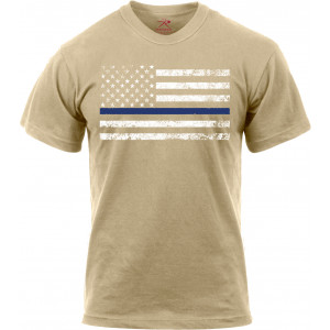 Desert Sand Thin Blue Line Police White Distressed US Flag T-Shirt